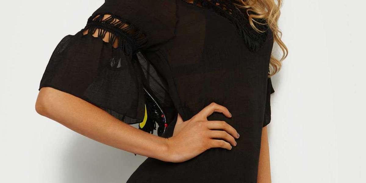 Black V-Neck Long Sleeve Fashion Mini Dress
