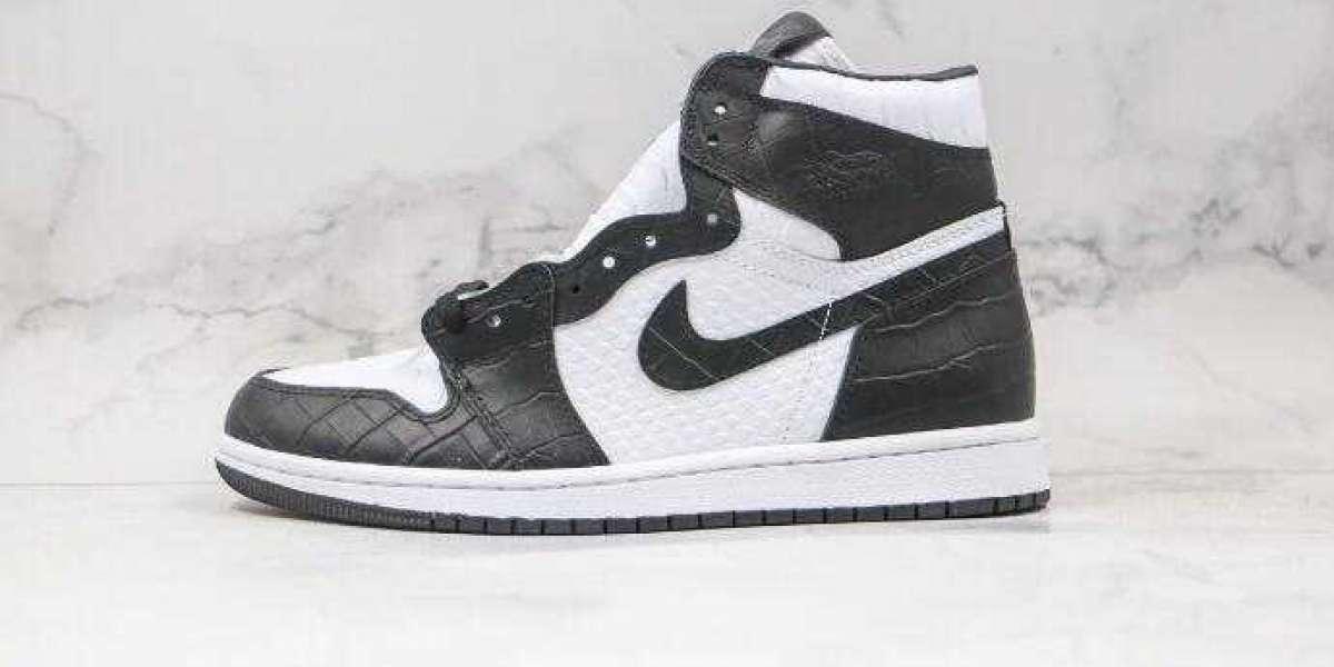 Air Jordan 1 WMNS Snake Swoosh Logo White Black 555088-001